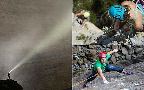 Hjälmar och lampor för klättring